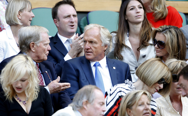 sat together for the men's quarterfinals on Wednesday.Jack Nicklaus and Greg Norman sat together for the men's quarterfinals.