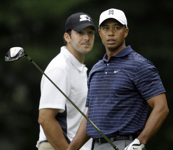 Tiger Woods and Tony Romo at AT&T National Pro-Am                                          Tiger Woods and Dallas Cowboys QB Tony Romo were paired together Wednesday morning at the AT&T National Pro-Am.
