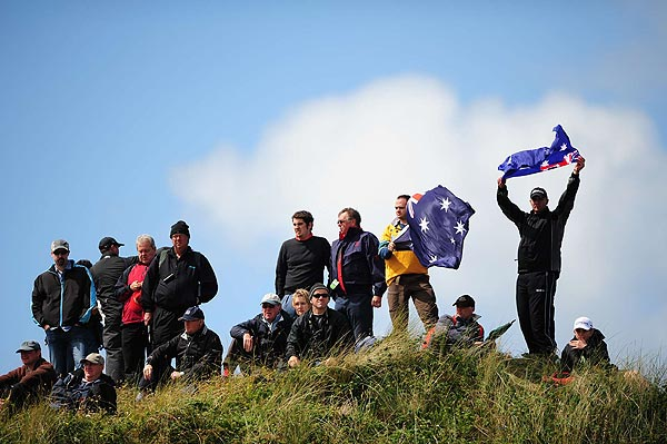 Fans from Norman's native Australia cheered on Sunday.