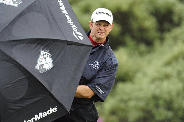 By Thursday, the weather had taken a turn for the worse. Players, including Retief Goosen, played through rain and wind.