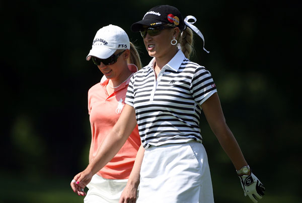 Gulbis was paired with Morgan Pressel, left, on Friday. Pressel shot even par.