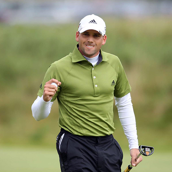 Sergio Garcia played the final round in a bright green Adidas polo shirt with a white mock turtleneck beneath.