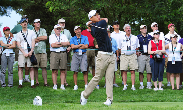 First Round of the AT&T National                                          Defending champion Anthony Kim set the course record at Congressional with a bogey-free 62.