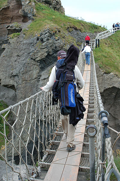 Coyne made his way across the Carrick-a-Rede rope bridge with his brother-in-law Brian.