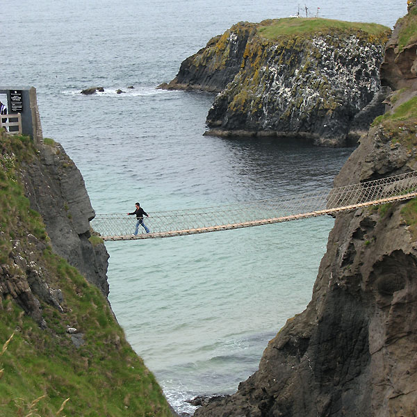 The Carrick-a-Rede rope bridge on the Antrim coast in Northern Ireland