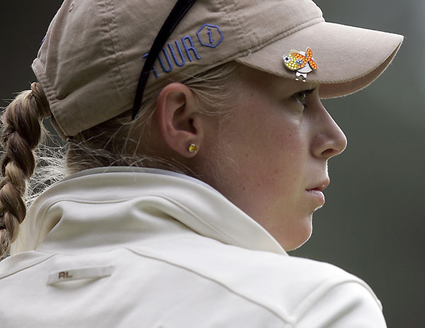 Morgan Pressel bogeyed 17 and 18 to shoot a two-over 74.