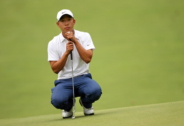 A day after setting the course record, Anthony Kim shot even par.