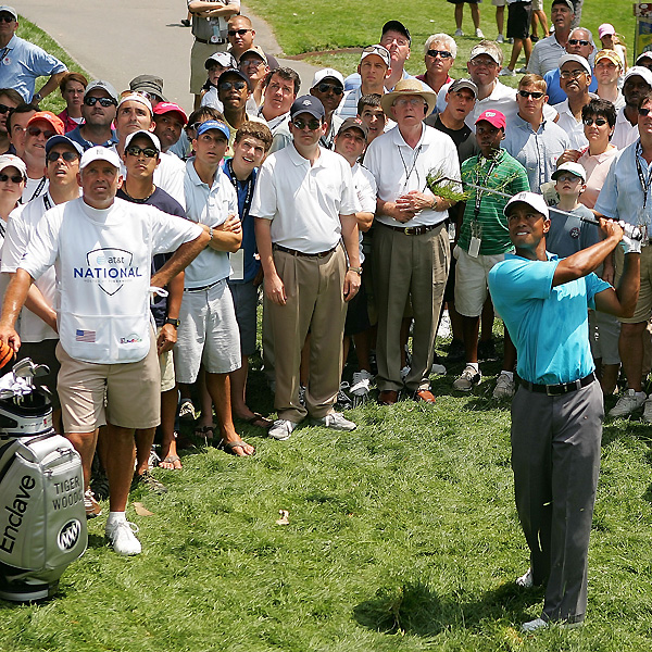Woods was unable to get up and down for par on No. 6.