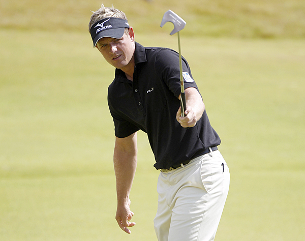 Luke Donald only completed nine holes, but he made three birdies and a bogey.