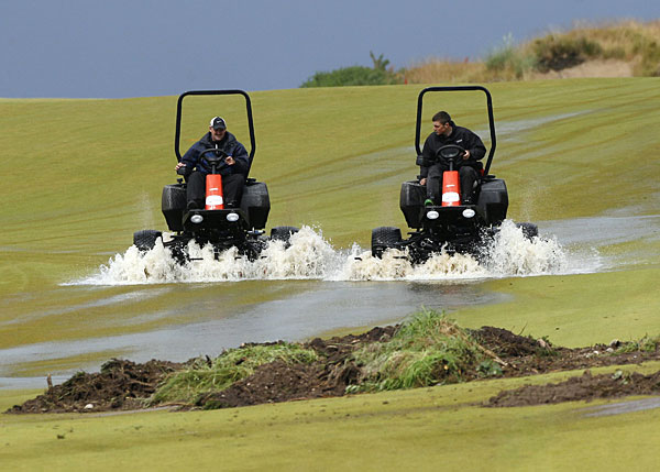 Storms washed out play on Saturday at the Scottish Open. Organizers were forced to shorten the event to 54 holes.