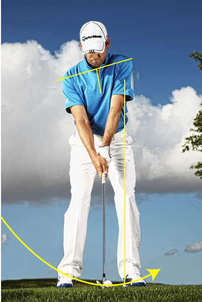 IRONS                     2) Hand Position                     Amateurs tend to press their hands forward so that the shaft leans toward the target. I prefer to keep my hands at my zipper and let the shaft lean in response to where the ball is in my stance. This gives me a neutral shaft lean with my irons and wedges, and a reverse lean with my driver.                                          3) Shoulder Tilt                     Because I don't lean the shaft forward at address, my shoulders tilt only slightly for each club. There's a school of thought that says you should set your right shoulder much lower than your left. I think that causes you to hang back on your right side too much during your downswing.