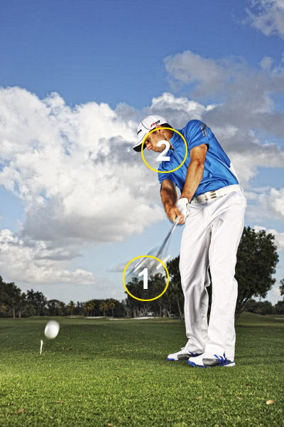 "My Solid-Strike Driver Keys                     Favor tempo over speed                     When it comes to hitting solid drives, the secret is to swing within yourself. I know that sounds like a cliche, but it's true. If you swing at 100 miles per hour and hit it on the toe, you won't hit the ball as far as you would with an 80-mph swing that catches the ball in the center of the clubface. My average clubhead speed with a driver is 118 mph. That's fast, but I can — and sometimes do — swing faster. However, that's also when I tend to miss cuts.                                          1) Practice Swings                     When you make practice swings on the tee, think ""tempo"" first. When you watch me make practice swings on TV, notice that I never make them at full speed. I'll make a nice, controlled move back and through. I'm not practicing for power, I'm practicing for balance.                     2) Do A Chin-Up                     It's easy to get bunched up when you set up with your driver, since the club is so long. Hold your chin up, and keep it there. If you bury it into your chest, you won't have room to swing through impact. Your right shoulder should work under — not into — your chin on your downswing."