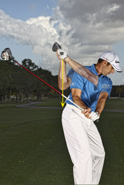 "Go-To Move: Let it drop                     A lot goes into making a good driver swing, but if there's one thing that really pulls it all together for me it's dropping my hands and arms straight down from the top. This is what gives your swing ""power lag."" I lag a lot more than the other guys on Tour, and if I told you exactly how I do it, I'd have to kill you. Honestly, there's no secret — just a good feeling of your arms dropping down from the top as your hips unwind. Be careful not to spin out with your shoulders. Make a practice backswing, stop at the top, then pump your arms up and down without moving your shoulders. That'll give you the feeling you're after."