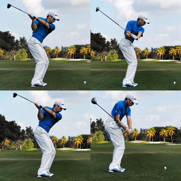 Start Down With Your Hips: The Secret to Creating Power Lag                     It looks like I'm actively dropping my arms down from the top, but they're actually being pulled by the rotation of my hips (look how quickly my left leg disappears in these photos). This is the only way you can create a power lag and find the slot on your downswing. Also, check out my left shoulder — it hardly moves during the initial stages of my downswing. If you start turning it to the left too early, you'll throw the club out in front of you and hit a slice or a pull.