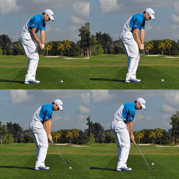 My Wedge Swing: Knuckles Down                     Because of the back ball position, the bottom of your natural wedge swing occurs in front of the ball. This is what allows you to hit down on the ball with a wedge, but only if you maintain a descending path. To make sure this happens, focus on your left-hand knuckles — notice that mine point toward the ground through impact. If they point up, you'll have almost zero chance of crisp contact.