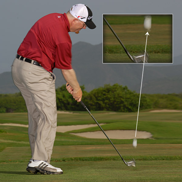 "DON'T STAY DOWN Fixating excessively on the ball can cause you to stop your swing too early. Instead, let your eyes ""chase"" the ball out toward the target. This frees up your body and helps you finish your swing."
