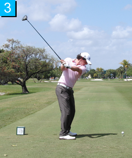 3. Notice how little Rory's hips have moved in relation to his shoulders — he's really winding his torso against his hips. This is like the handle of a slingshot staying still as you pull the sling.