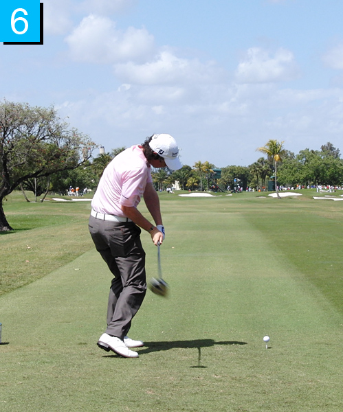 6. Rory's belt line is flattening but his rear end is not moving closer to the ball. This tuck of the pelvis allows power hitters to rotate through impact and transfer energy from the lower body to the torso.