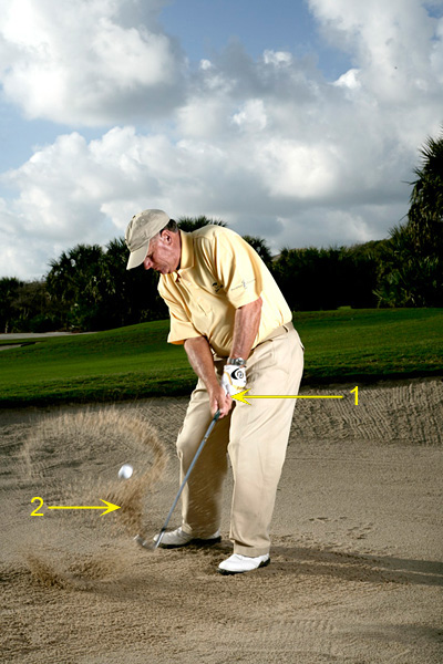 1. FEEL THE RELEASE As you swing through impact, you'll notice how easy it is to release your right hand. That's because it's sitting lower on the handle, where it can better control the clubhead. This right-hand release guards against deceleration and leaving your club in the sand.                                              2. FEEL THE CONTROL Because the split grip gives you so much more control of the shaft and the clubhead, it encourages an arm-dominated swing with minimal lower-body movement. Things get dicey when you add too much leg action. Turn smoothly toward the target and let your arms do the bulk of the work.
