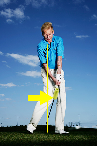 What It Does                                          This drill lets you know if you're correctly driving your right knee past the midline of your stance. This is an important downswing move that allows you to turn your torso through impact and get solid contact in the middle of the clubface and a penetrating ball flight. You know you're doing it right if you feel your right knee hit the shaft just before impact. If you don't drive your right knee, it's impossible to turn through the ball. Your thighbone plugs into your pelvis, so if you don't drive it toward the target, your pelvis — and core — can't turn.                                          The Move That Makes It Happen                                          If you have difficulty driving your right knee forward on your downswing, you're stranding weight on your right side and swinging with just your arms and hands. At the top, make sure your weight is on the inside rim of your right foot, and then drive your right thigh toward the target. Setting your weight like this and driving your thigh gives you the leg lean you're looking for, and automatically unlocks the power of your core.
