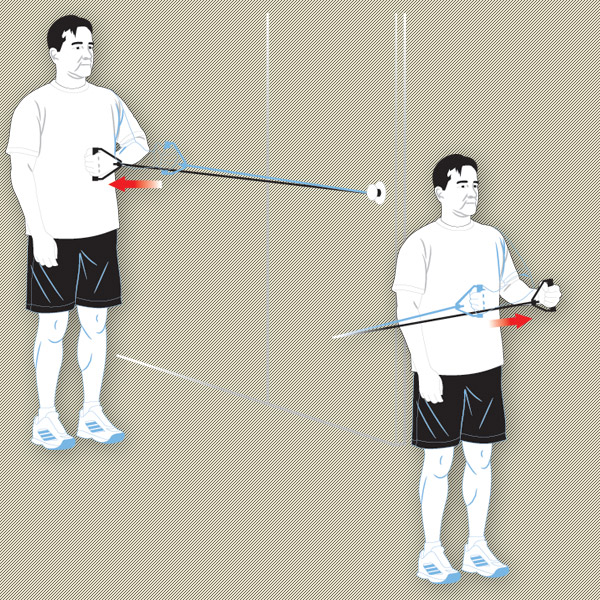Attach an exercise band to a doorknob; stand perpendicular to the door with your elbow bent so your arm points forward. Pull the band away from the knob until your fist meets your stomach. Turn your other shoulder to the door and, using the same arm as before, pull the band away from the door.                                               Exercise Band Frequency: 3 sets of 10, 3 times a week