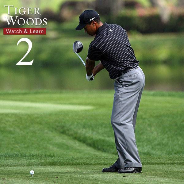 Tiger turns his left forearm clockwise as he rotates his body away from the target. This takes years to perfect. Instead, keep your arms in close to your body and rotate your left arm as you near the top.