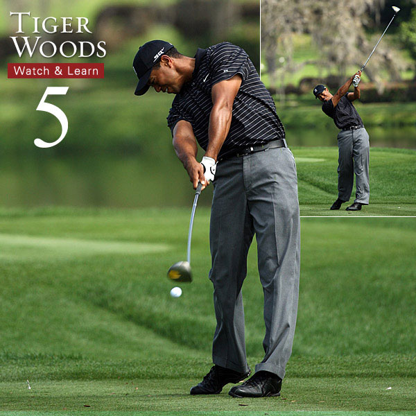 "After impact, Tiger works his arms and club ""out and over."" To release the club like this, ""throw"" your arms past the ball. This will improve your extension and remove any instinct to ""steer"" the shot."