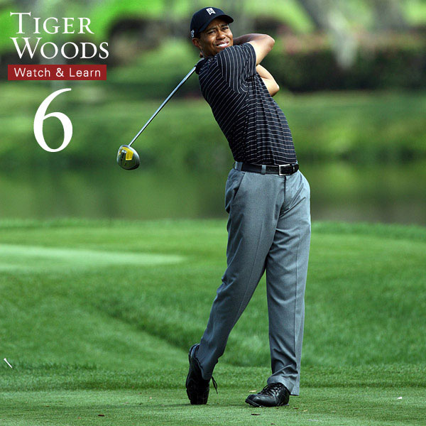 The perfect finish! Like Tiger, try to get your right shoulder pointing at the target with nearly all of your weight on your left foot. This will help you release your right side and increase your club speed.
