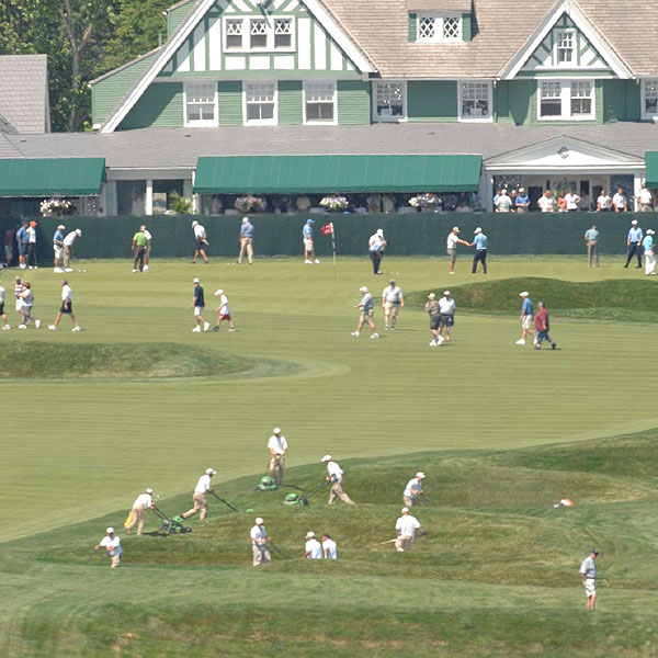 Fans walked around No. 9 as the grounds crew mowed the rough.                        • Danger Zones: Oakmont's 5 toughest shots