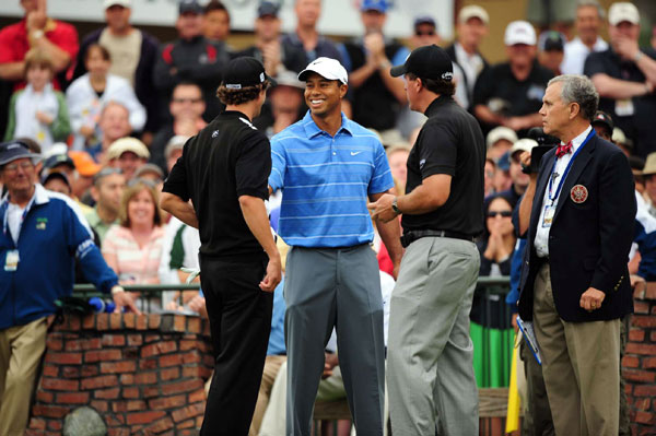 First Round of the U.S. Open                     The world's three best players met on the first tee of the South Course for their 11:06 a.m. EST start.