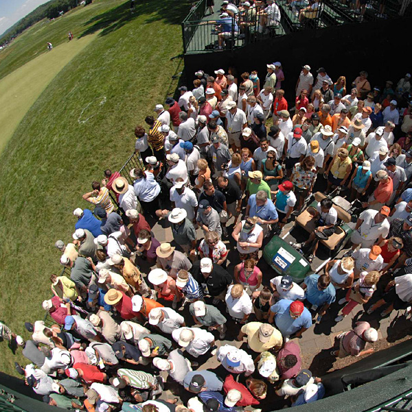 Fans crowded in to watch Tuesday's practice round.
