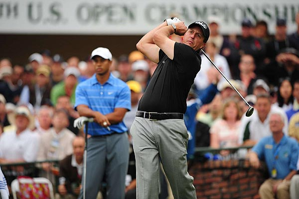 """Mickelson opted not to carry his driver in the first round and used his 3-wood instead. """"My game plan was that I only want to hit it a certain distance. I don't really want to hit it past 300 yards on most of the par-4s because it starts running into the rough,"""" he said."""