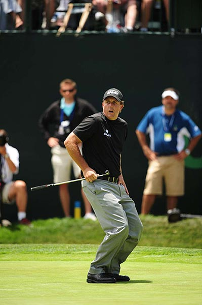 Mickelson missed this eagle putt to birdie the final hole. He is at even par.