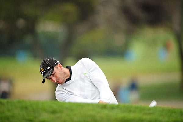 Geoff Ogilvy bogeyed his first hole of the day. He shot 73 in his second round.