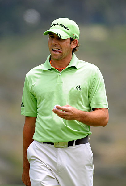 Garcia was six over after seven holes before making 10 straight pars and a birdie on 18. He is five over.