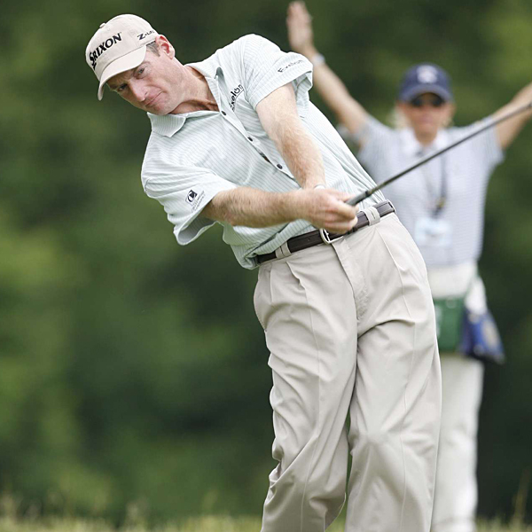 Jim Furyk, a Pennsylvania native, was three strokes off the lead at one over par.