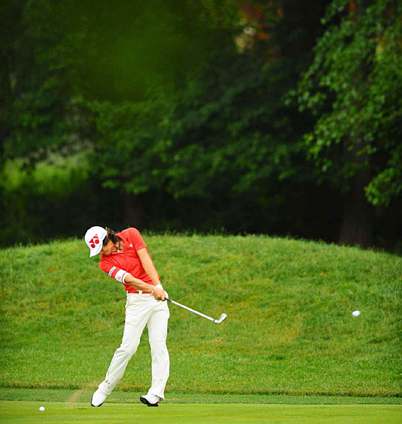 made four bogeys, three birdies and a double bogey for a 74.