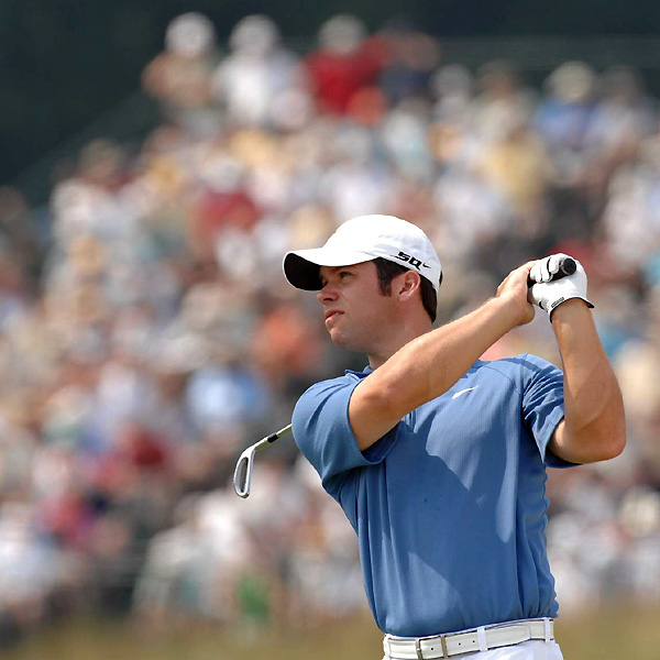Paul Casey couldn't match his brilliant second-round 66, but he managed a solid 72 and is three shots off the lead at five over.