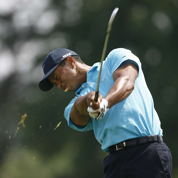 Woods played brilliantly from tee to green on Saturday. He hit 9 of 14 fairways and 17 greens in regulation, and he didn't make a bogey until the 18th hole.