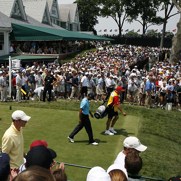 A huge gallery turned out for Woods on the first tee box. He started the day at five over par, five shots behind the second-round leader, Angel Cabrera.