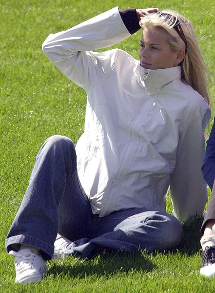 Elin Nordegren, shown here at the The Players Championship in 2002, became a fixture at Tiger Woods' tournaments when they began dating.