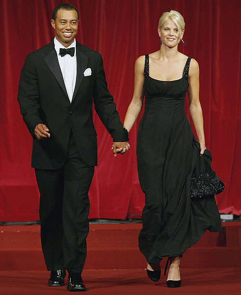 Tiger Woods and his wife Elin on the catwalk during the 2006 Ryder Cup Gala in Dublin.