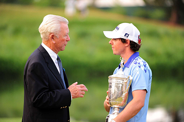 Ken Venturi, who won the U.S. Open at Congressional in 1964, chatted with McIlroy after the trophy presentation.