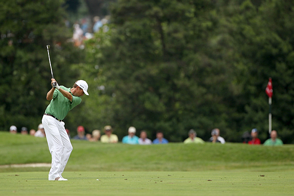 Davis Love III bogeyed 18, but the U.S. Ryder Cup captain still tied for 11th.