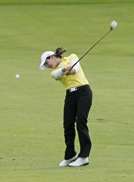 Lorena Ochoa, who double bogeyed the par-4 13th hole, is at even par.