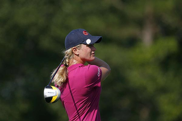 Suzann Pettersen shot 70 on Sunday. She finished five strokes off the lead.