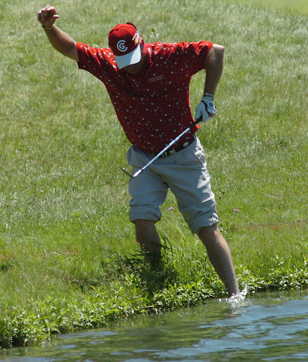 Woody Austin played his second shot from the water on 15. He made a bogey and finished with a 71.