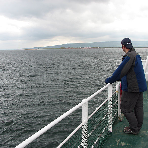Coyne's brother-in-law Brian leaving Donegal on the ferry to Derry.                                              Course Called Ireland: Northern Exposure