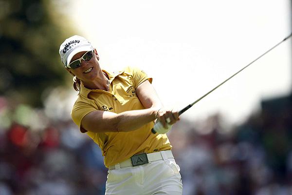 Annika Sorenstam had four bogeys in her first round at Interlachen.