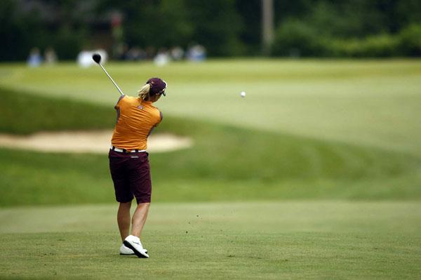 Annika Sorenstam, playing in her final U.S. Open, shot a three-under 70 to finish at one under.